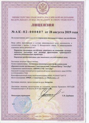 Лицензия пассажирские перевозки 001