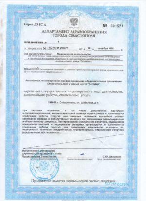 приложение к мед.лицензии 001